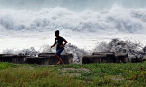Huge waves crash into the coast in Taitung county, eastern Taiwan on Friday.