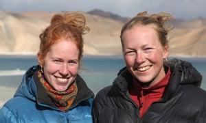 Mel and Kate pictured at Pangong Lake in the Himalayas.