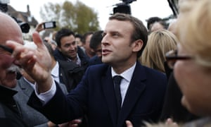 Emmanuel Macron leaves a polling station after casting his ballot in Le Touquet for the French presidential election's first round, in which he beat Marine Le Pen into second place.