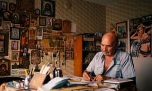 Peter Sharkov, 81, in his office. He dedicates his time to writing historical and religious books.