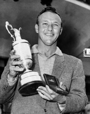 15 July 1961. Arnold Palmer smiling with his trophy and medal after winning the British Open by a single stroke at Royal Birkdale course in Lancashire.