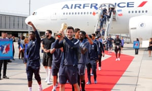 The France team return from the World Cup in Russia.