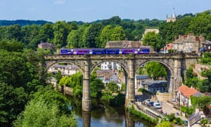 A Northern Rail train on the viaduct over the River Nidd