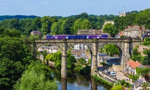 Northern Rail train on the viaduct over the River Nidd