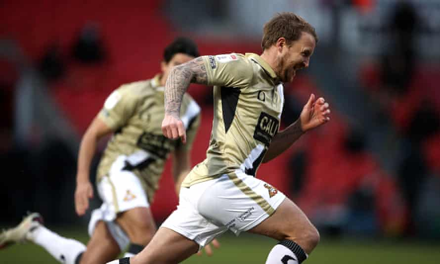 James Coppinger celebrates after scoring a 102nd-minute equaliser for Doncaster in a 3-3 draw with Hull on 20 February.