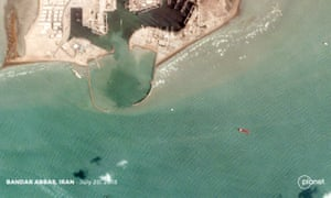 Satelite images appearing to show the Stena Impero (the red ship) being held in the port of Bandar Abbas, in southern Iran. Satelite image captured on 20 July at 11.33am local time.
