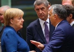 From left; Angela Merkel, Czech prime minister Andrej Babis and Hungarian prime minister Viktor Orbán.