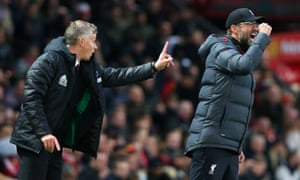 Manchester United's manager Ole Gunnar Solskjær and his Liverpool counterpart Jürgen Klopp during last October's 1-1 draw at Old Trafford.