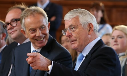 Tony Blair and John Major share a platform at the University of Ulster in Derry in June 2016