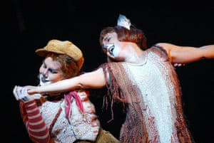 DiDonato, left as Fox, with Dawn Upshaw as Vixen Sharp Ears in The Cunning Little Vixen at the Royal Opera House, 2003.