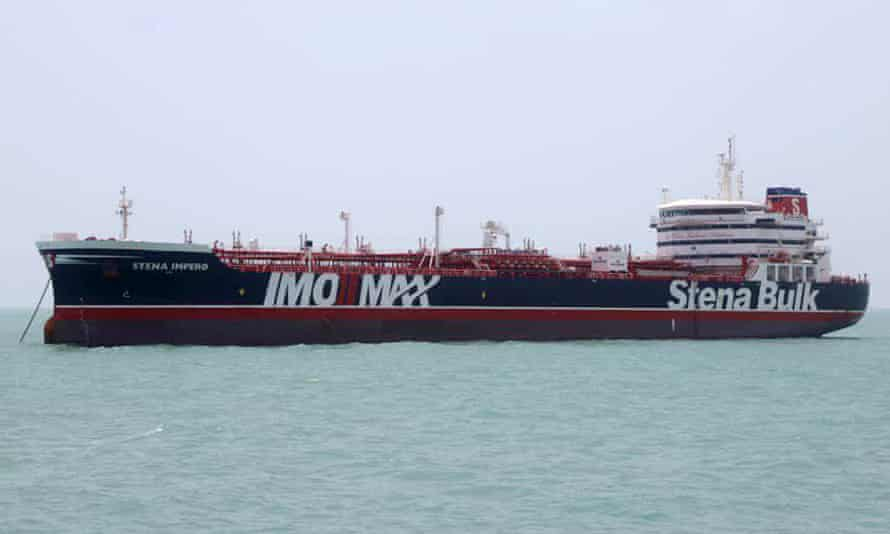 The British-flagged tanker Stena Impero anchored in Bandar Abbas in southern Iran.