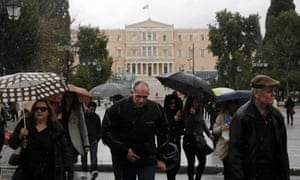 A rain and hail storm outside the Athens parliament today.
