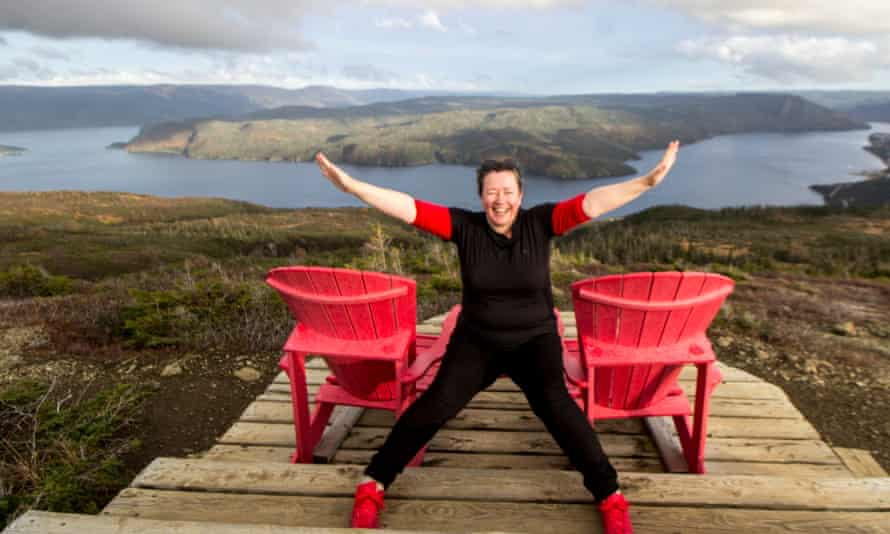 Niamh Shields atop Western Newfoundland's Lookout Trail