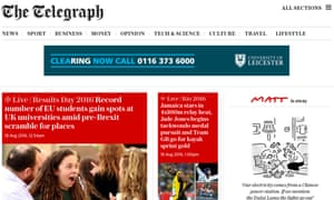 Telegraph website: traffic fell by 7.6% to 5.2 million browsers in July
