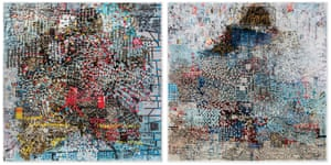 Mark Bradford, Elgin Gardens, 2015 Mixed media on canvas. Two parts, 253½ x 253½ in. each