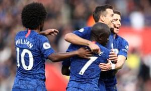 Chelsea celebrate Kante's third.
