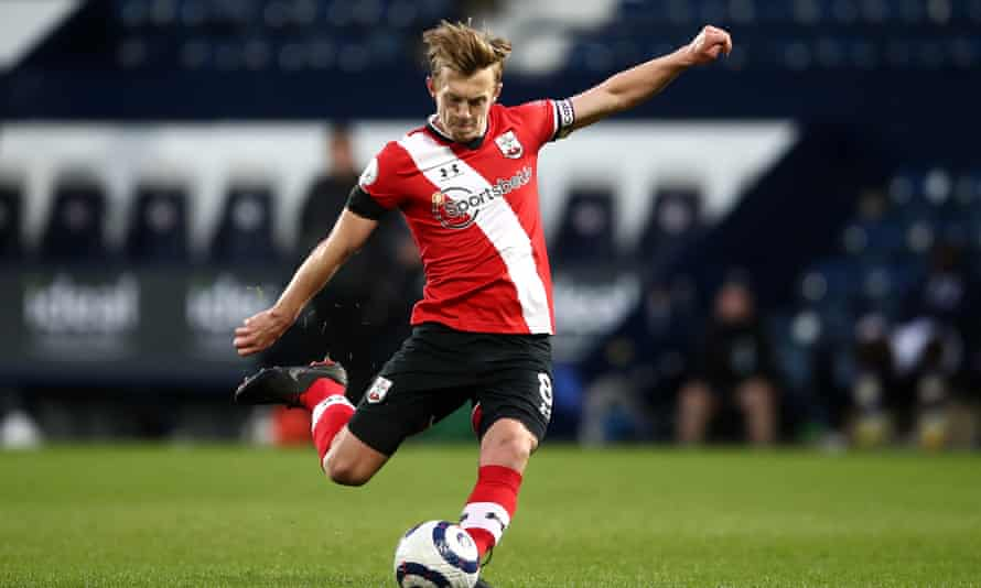 Southampton's James Ward-Prowse shoots from a free-kick against West Brom