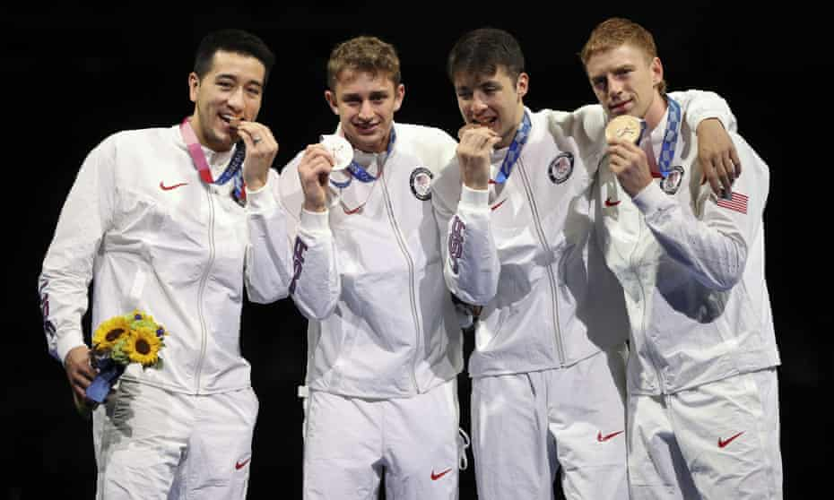 USA's Alexander Massialas, Nick Itkin, Gerek Meinhardt and Race Imboden pose with their fencing bronze medals