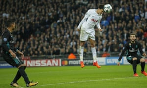 An unmarked Dele Alli heads wide when it would have been easier to stick it in the net.