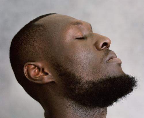 Stormzy in profile with eyes shut