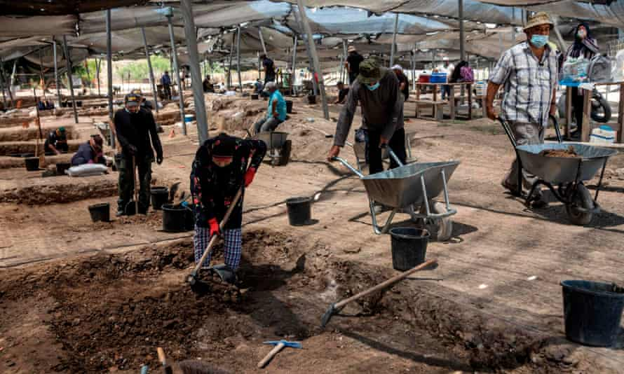 The dig site in central Israel where the coins were unearthed