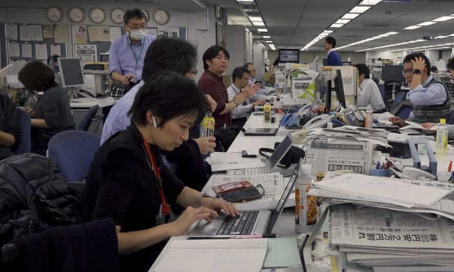 Isoko Mochizuki in the Tokyo Shimbun office.