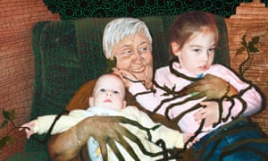 A 2009 piece by Johnson paints over an image of her grandmother smiling as she balances her two grandchildren in her lap.