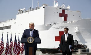 President Trump speaks in front of the US Navy hospital ship USNS Comfort in Norfolk, Virginia, before it sailed to New York City.