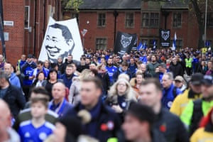 Leicester City fans during the 5000/1 remembrance walk in honour of the club's late Chairman Vichai Srivaddhanaprabha as they reach the King Power Stadium, whick took place before the 0-0 draw against Burnley.
