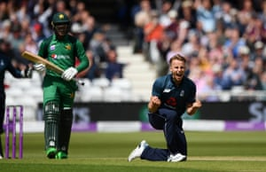 Curran celebrates taking Fakhar for 57.