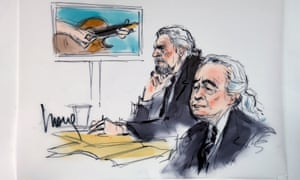 Led Zeppelin singer Robert Plant and guitarist Jimmy Page are drawn sitting in federal court for the Stairway to Heaven hearing.