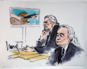 A courtroom sketch of Plant (left) and Page.