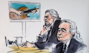 Led Zeppelin singer Robert Plant, left, and guitarist Jimmy Page in a courtroom sketch drawn during an earlier hearing in the case related to Stairway to Heaven.