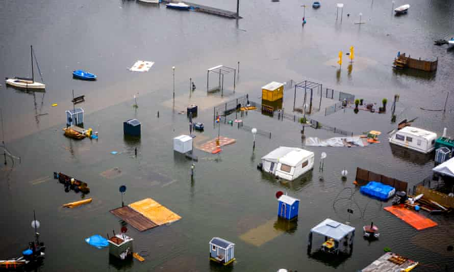 Caravans and campers under water in Roermond, the Netherlands, due to heavy flooding on 15 July.