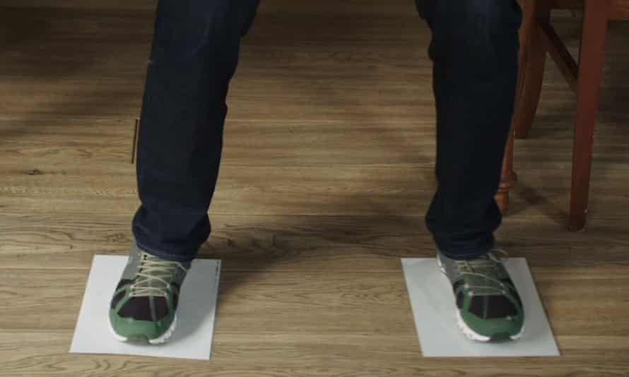 Person doing foot exercises on Warren-Smith-Ski-Academy-remote-coaching