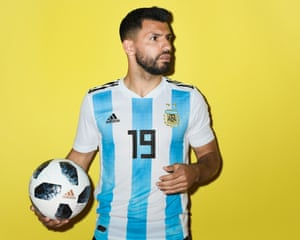 Manchester City's Sergio Aguero poses as part of the Argentina squad. City have sent sixteen players to Russia, more than any other club side.