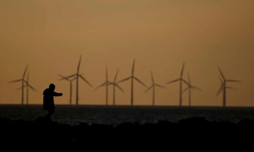 a windfarm at dusk