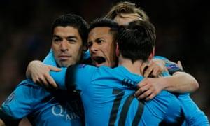 Barcelona's Luis Suárez, Neymar and Lionel Messi