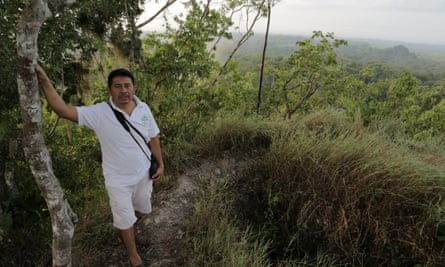 Damian Gomez on top of the lost pyramid, Yucatan