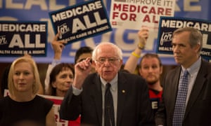 Bernie Sanders introduces a new version of his Medicare for All plan at Capitol Hill in Washington DC with Kirsten Gillibrand and Ed Markey on 10 April.