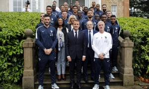 Emmanuel and Brigitte Macron visit the French football team during their World Cup preparations in early June near Paris.