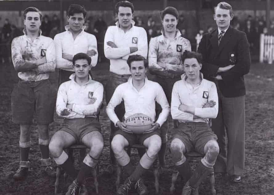 David Storey (back row, second left), Queen Elizabeth grammar school rugby sevens, Wakefield, 1951.