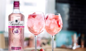 Gordon's Pink bottle with two full glasses
