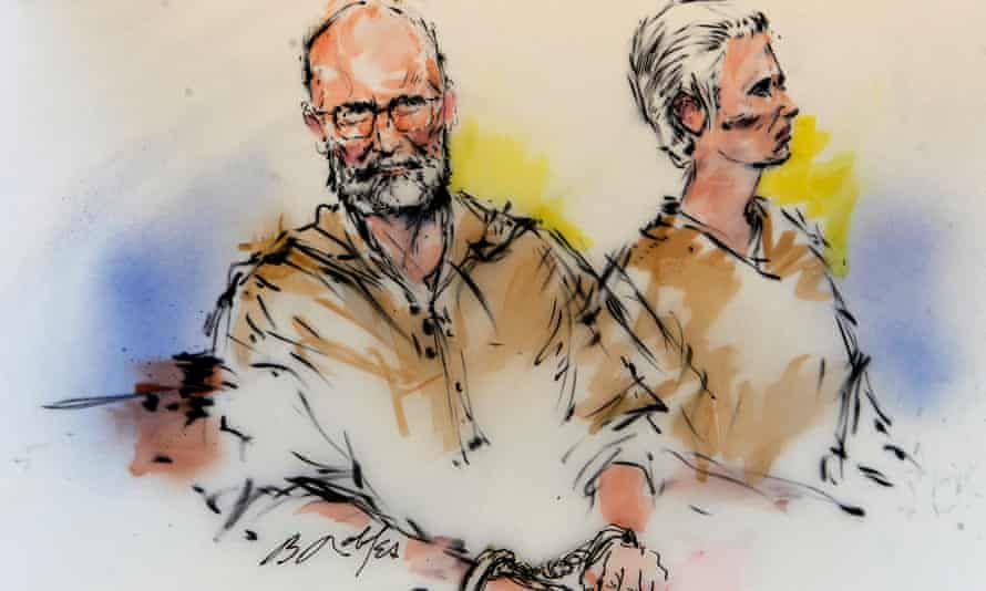 A court drawing of Whitey Bulger and his girlfriend, Catherine Greig.