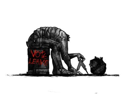 Illustration by David Foldvariof Newton's statue, headless, with 'VOTE LEAVE' graffiti
