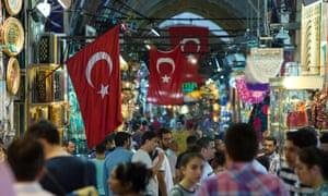 Turkey flags in the bazaar