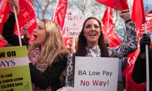 BA cabin crew on strike in 2017 over pay. BA's workers have resisted the airline's attempts to change working conditions and contracts over recent years.