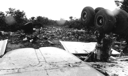 Wreckage from Surinam Airways Flight 764 after the crash in Paramaribo, Suriname in 1989.