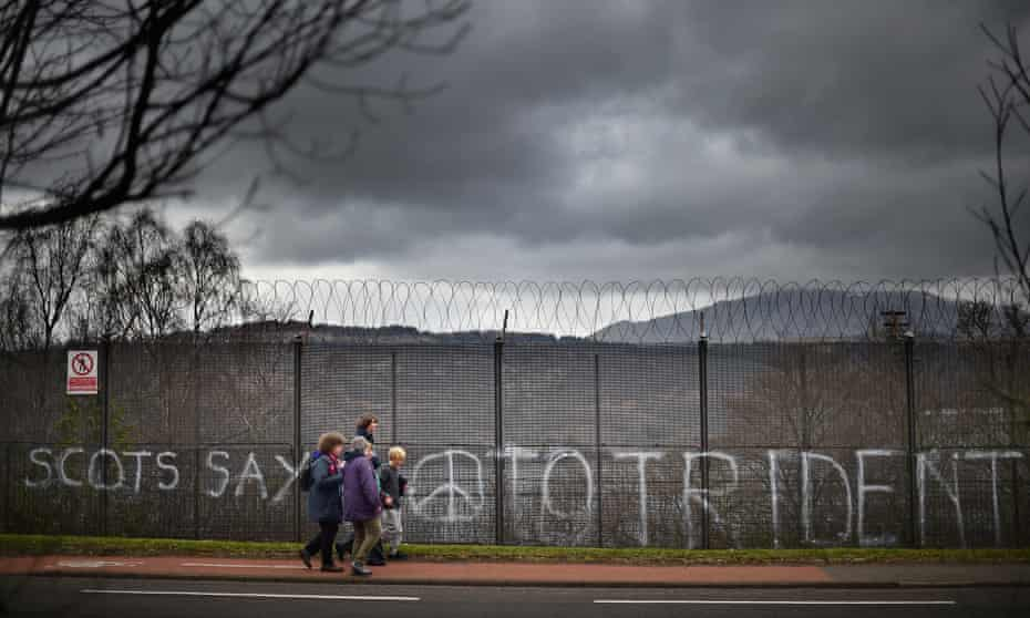 The perimeter of Faslane naval base in 2015. Anti-nuclear sentiment is growing in SNP-dominated Scotland.