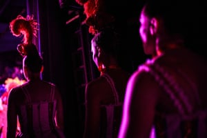 Dancers preparing to walk on stage.